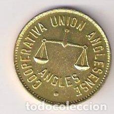 Euros: COOPERATIVA UNIÓN ANGLESENSE. 5 PESETAS DE ANGLÉS. SIN CIRCULAR. (C7).. Lote 194501135