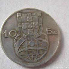 Euros: PORTUGAL . 10 ESCUDOS DE PLATA MUY ANTIGUOS . 1954. Lote 194543910