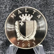 Euros: MALTA AÑO 1993 - 430 ANIVERSARIO DEFENSA DEL CRISTIANISMO EN EUROPA - 1 LIRA / 2 ECUS. Lote 205134707