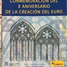 Euros: PACK OFICIAL X ANIVERSARIO CREACIÓN DEL EURO CON MONEDA CONMEMORATIVA, HOJITA Y PRUEBA FILATÉLICA. Lote 209688575