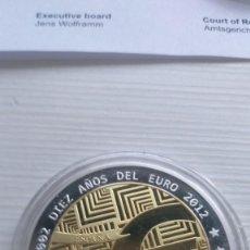 Euros: RARA MONEDA BIMETÁLICA 10 AÑOS DEL EURO 2002-12 ORO Y PLATA PROOF INSCRUSTACIONES SWAROSVKI ESPAÑA. Lote 209972690