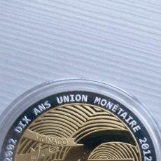 Euros: MEDALLA 2012 MONACO EUROPE, LES 10 ANS DE L'UNION MONÉTAIRE, STGL 10 AÑOS EURO.CÁPSULA PROOF. Lote 210942010