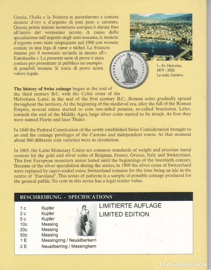 Euros: CARTERA DE EUROS DE PRUEBA DE SUIZA DEL AÑO 2003 - Foto 4 - 216379693