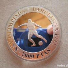 Euros: FUTBOL . 2000 PESETAS DE PLATA . BARCELONA 92 . TOTALMENTE PERFECTA. Lote 244471945