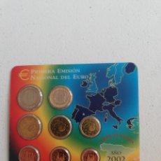Euros: CARTERA OFICIAL EURO ESPAÑA 2002 PRIMERA EMISIÓN NACIONAL DEL EURO 8 MONEDAS. Lote 220856075