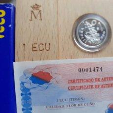 Euros: 1 ECU DE PLATA DE 1996. ESTUCHE Y CERTIFICADO. Lote 221705687