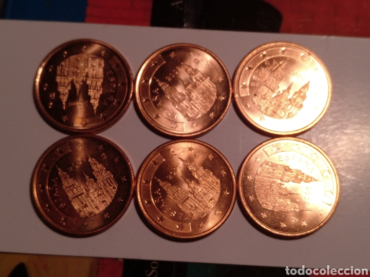 Euros: 6 monedas de 5 céntimos de euro casi sin uso - Foto 2 - 221733558