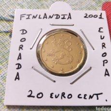 Euros: MONEDA 20 EURO CENT FINLANDIA 2001 MBC ENCARTONADA. Lote 223456682