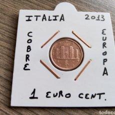 Euros: MONEDA 1 EURO CENT ITALIA 2013 MBC ENCARTONADA. Lote 224559840