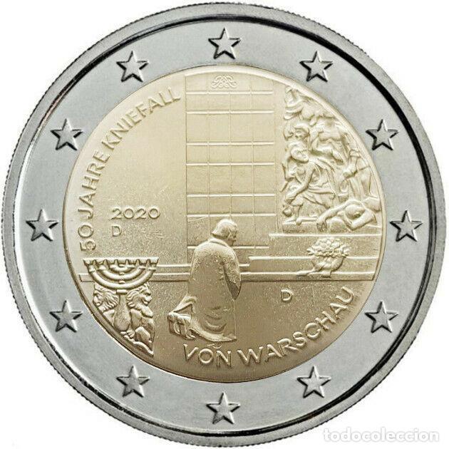 ALEMANIA 2020. MONEDA DE 2 EUROS CONMEMORATIVA DE LA GENUFLEXION DE VARSOVIA. 1 CECA. SIN CIRCULAR (Numismática - España Modernas y Contemporáneas - Ecus y Euros)