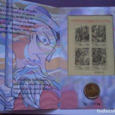 Euros: CARTERA NUMERADA 2 EUROS 4 SELLOS DE 2005. IV CENTENARIO PUBLICACIÓN DE DON QUIJOTE DE LA MANCHA.. Lote 214513402