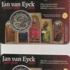 Euros: BELGICA 2020. COINCARD CONMEMORATIVO DE JAN VAN EYCK. VERSION ALEMANA Y FRANCESA. Lote 254113360