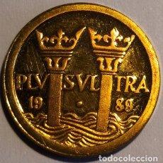 Euros: 1989 PLUS ULTRA 10 ECUS ORO COLUMNAS DE HÉRCULES. Lote 235414210