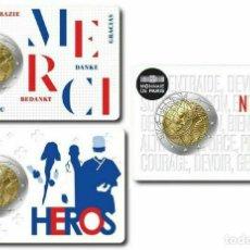 Euros: FRANCIA 2020. 3 COINCARD DISTINTOS DE LA MONEDA DE 2 EUROS CONMEMORATIVA DE LA SANIDAD MEDICA.. Lote 254113345