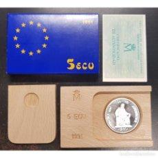 Euro: ESPAÑA 5 ECU PLATA 1991 AVERROES - 1 ONZA PLATA CON ESTUCHE Y CERTIFICADO. Lote 262508115