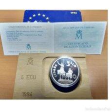 Euro: ESPAÑA: 5 ECU PLATA 1994 CERVANTES - DON QUIJOTE - 1 ONZA PLATA PURA. Lote 267093739
