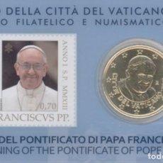 Euros: COINCARD CON MONEDA DE 50 CTS VATICANO 2013 + SELLO 70 CTS PAPA FRANCISCO. Lote 270260143