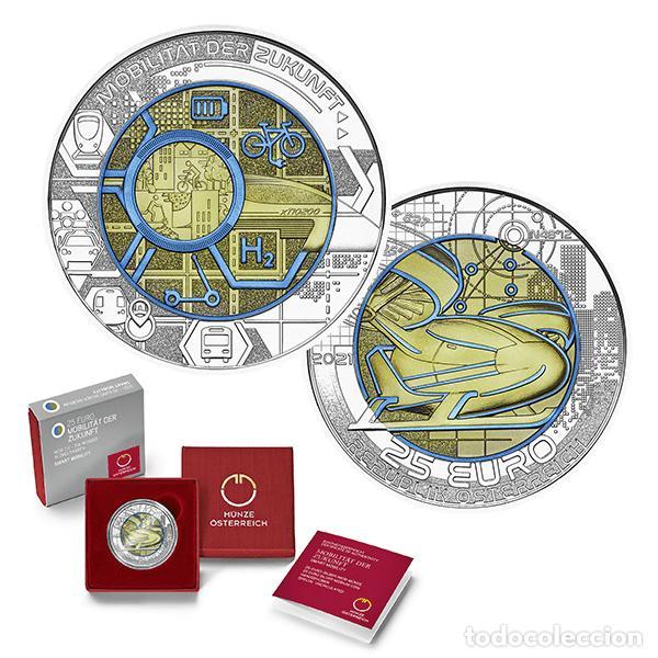 Euros: AUSTRIA 2021. MONEDA DE 25 EUROS DE NIOBIO. SMART MOBILITY. CON CAPSULA, CAJA Y CERTFICADO - Foto 3 - 252414800