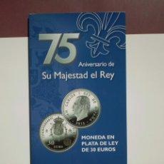 Euros: CARPETA NUMERADA 30 EUROS PLATA 2013. 75 ANIVERSARIO DE SU MAJESTAD EL REY. Lote 253819115