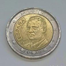 """Euros: J. CARLOS I. 2 EUROS 2002. ERROR EN LA """"O"""" Y LAS ESTRELLAS DEL REVERSO.. Lote 254648315"""