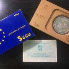 Euros: MONEDA PLATA ESPAÑA 1994 - 5 ECU - DON QUIJOTE Y SANCHO - MIGUEL DE CERVANTES. Lote 255432450