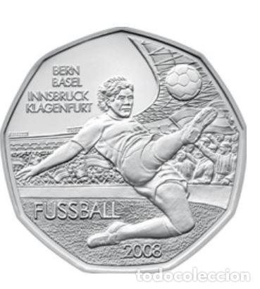 MONEDA 5 EUROS DE PLATA AUSTRIA 2008 - FUTBOL BERNA BASEL - SIN CIRCULAR (Numismática - España Modernas y Contemporáneas - Ecus y Euros)