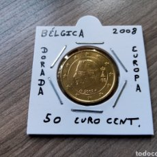 Euros: MONEDA 50 EURO CENT BÉLGICA AÑO 2008 MBC ENCARTONADA. Lote 277527913