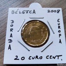 Euros: MONEDA 20 EURO CENT BÉLGICA AÑO 2008 MBC ENCARTONADA. Lote 277528008