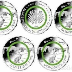 Euros: ALEMANIA 5 X 5 EUROS 2019 ADFGJ - ZONAS CLIMATICAS - POLIMERO - SIN CIRCULAR -. Lote 289304858