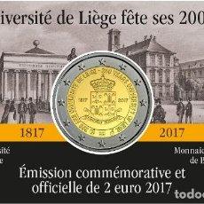 Euros: BELGICA 2 EUROS 2017 - CONM. UNIV. DE LIEJA - EN COINCARD - VERSIÓN FRANCESA. Lote 294372443