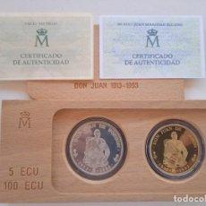 Euros: JUAN CARLOS I 5 Y 100 ECUS DE 1993. FLOR DE CUÑO. CERTIFICADOS DE LA FNMT. (M7). Lote 295476758