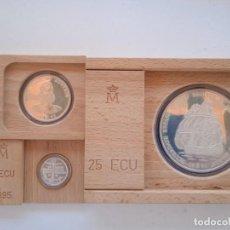 Euros: JUAN CARLOS I 1, 5 Y 25 ECUS DE 1995. FLOR DE CUÑO. CERTIFICADOS DE LA FNMT. (M6). Lote 295478133