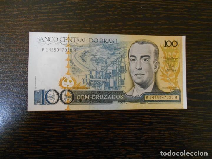 BRASIL-BILLETE ANTIGUO DE 100 CRUZADOS-SC-UNC (Numismática - Internacional)