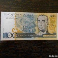 Monedas extranjeras: BRASIL-BILLETE ANTIGUO DE 100 CRUZADOS-SC-UNC. Lote 201526606