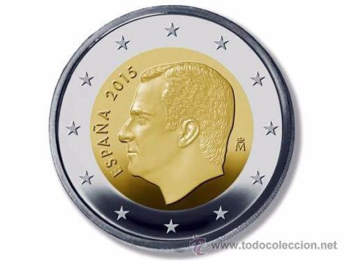 2 EUROS ESPAÑA 2015 NUEVO TIPO REY FELIPE VI ENCARTONADA S/C (Numismática - España Modernas y Contemporáneas - Felipe VI)