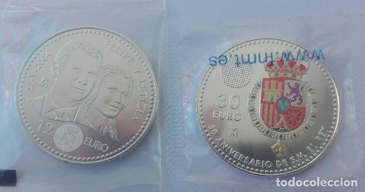 2 MONEDAS DE PLATA DE 12 € 2004 Y 30 € FELIPE VI, 2018 (Numismática - España Modernas y Contemporáneas - Felipe VI)