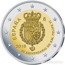 Monedas de Felipe VI: ESPAÑA 2018. MONEDA DE 2 EUROS CONMEMORATIVA DEL 50 ANIVERSARIO DEL REY FELIPE VI. Lote 131747901