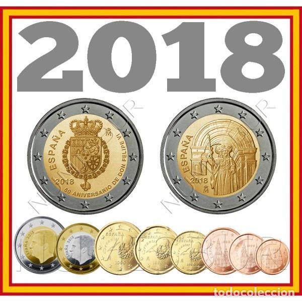 ESPAÑA: SERIE COMPLETA EURO 2018 LOS 10 VALORES S/C REY FELIPE V 2 EUROS (Numismática - España Modernas y Contemporáneas - Felipe VI)