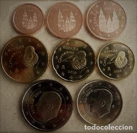 EUROS ESPAÑA 2019 SERIE BASICA -8 MONEDAS- REY FELIPE VI- MONTADA EN TIRA S/C.- (Numismática - España Modernas y Contemporáneas - Felipe VI)