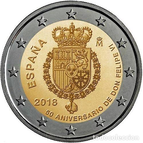 2 EUROS ESPAÑA 2018 -NOVEDAD: 50 ANIVERSARIO. FELIPE VI-* MONEDA CONMEMORATIVA*-ENCAPSULADA- (Numismática - España Modernas y Contemporáneas - Felipe VI)