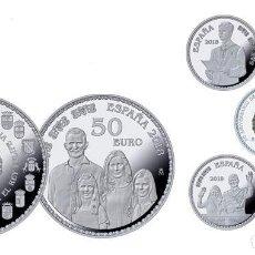 Monedas de Felipe VI: ESPAÑA COLECCIÓN PLATA 2018 PROOF 50 ANIV. DE S.M. REY FELIPE 50 € + (4) 10 €. Lote 144989430