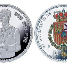 Monedas de Felipe VI: ESPAÑA 10 EURO PLATA 2018 PROOF 50 ANIV. DE S.M. REY FELIPE - 8 REALES (TIPO 1). Lote 144990182