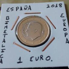 Monedas de Felipe VI: MONEDA 1 EURO ESPAÑA 2018 EBC ENCARTONADA. Lote 158844497