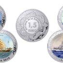Monedas de Felipe VI: ESPAÑA: 2ª SERIE HISTORIA DE LA NAVEGACION ESPAÑA 2019 LAS 4 MONEDAS MULTICOLOR. Lote 160934682