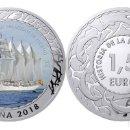 Monedas de Felipe VI: ESPAÑA 1,5 EURO 2018 BUQUE ESCUELA EL CANO 1ª SERIE HISTORIA DE LA NAVEGACION. Lote 160937874