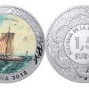 Monedas de Felipe VI: ESPAÑA 1,5 EURO 2018 DRAKKAR ESCANDINAVO 1ª SERIE HISTORIA DE LA NAVEGACION. Lote 160938022