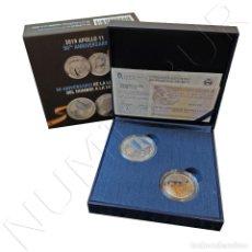 Monedas de Felipe VI: ESPAÑA: 10 EURO PLATA 2019 SET CONJUNTO 50 ANIV LLEGADA DEL HOMBRE A LA LUNA + 0.50$ USA 2019. Lote 170197148