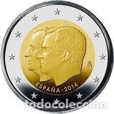 2 EUROS ESPAÑA CONMEMORATIVA 2014 *CAMBIO DE TRONO REYNADO* ENCARTONADA (Numismática - España Modernas y Contemporáneas - Felipe VI)