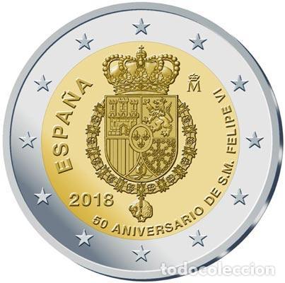 ESPAÑA 2018. MONEDA DE 2 EUROS CONMEMORATIVA DEL 50 ANIVERSARIO DEL REY FELIPE VI (Numismática - España Modernas y Contemporáneas - Felipe VI)