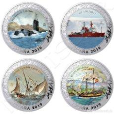 Monedas de Felipe VI: ESPAÑA: 5ª SERIE HISTORIA DE LA NAVEGACION ESPAÑA 2019 LAS 4 MONEDAS MULTICOLOR. Lote 238663320